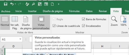 Botón de vistas personalizadas en excel