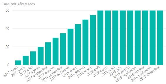 Ejemplo del cálculo del TAM en Power BI expresado en un gráfico de barras