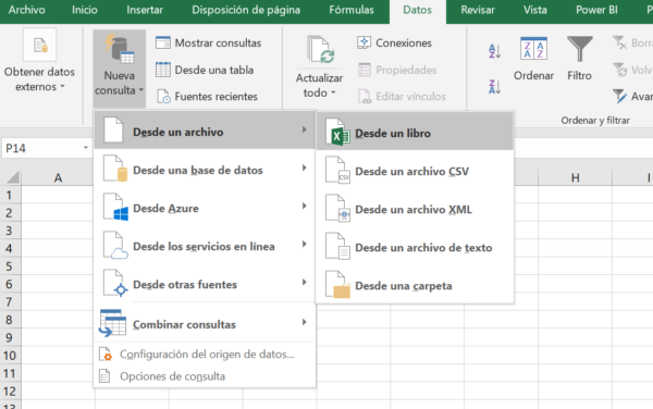 Consulta PowerQuery desde un archivo Excel