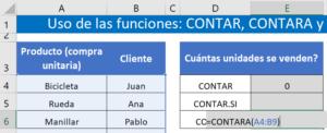 sintaxis función CONTARA en excel