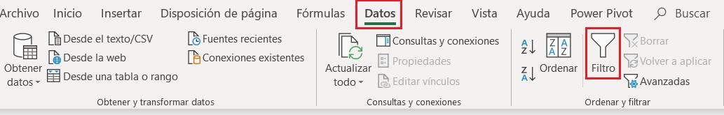 pestaña datos