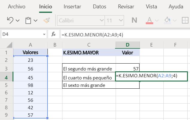 Función K.ESIMO.MENOR Excel