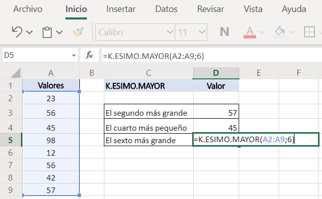 Función K.ESIMO.MAYOR Excel