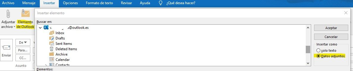 insertar elemento de outlook