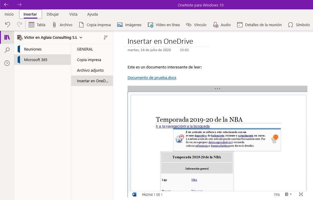 Cargar el archivo en OneDrive e insertar vínculo