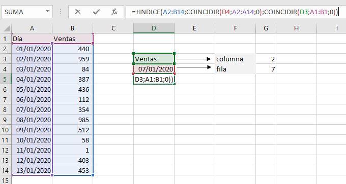 formula indice con formula coincidir