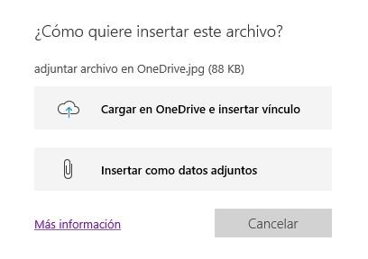 Opciones para insertar un archivo en OneNote