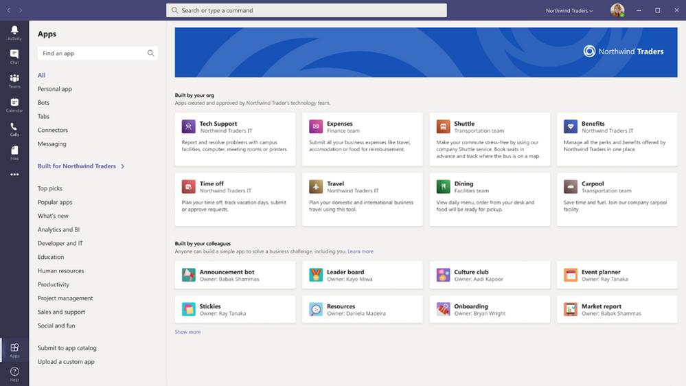 Personaliza la tienda de apps de Microsoft Teams