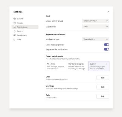 Ajustes globales de notificaciones nuevas y simplificadas