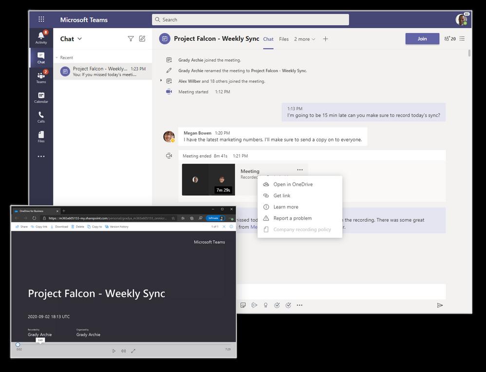 Grabaciones de reuniones y llamadas, almacenadas en OneDrive y SharePoint
