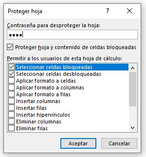 Proteger hoja/Contraseña