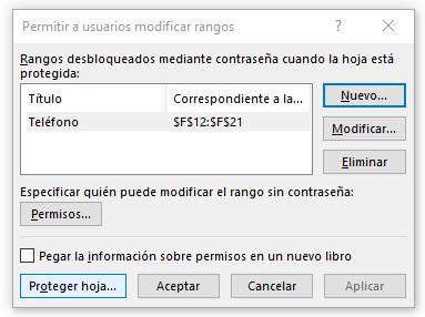 Permitir editar datos/Proteger hoja