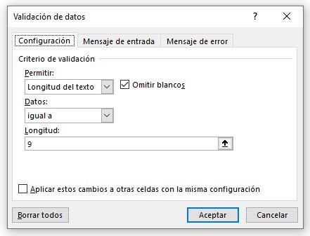 Validación de datos Configuración