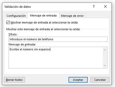Validación de datos/Mensaje de entrada